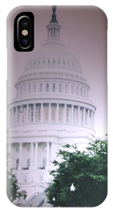 Capitol IPhone X / XS Case featuring the photograph Capitol In Pink by Pharris Art