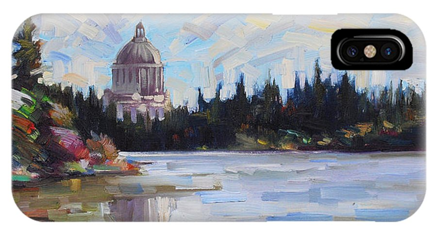 Olympia IPhone X Case featuring the painting Capitol Reflections by Gregg Caudell