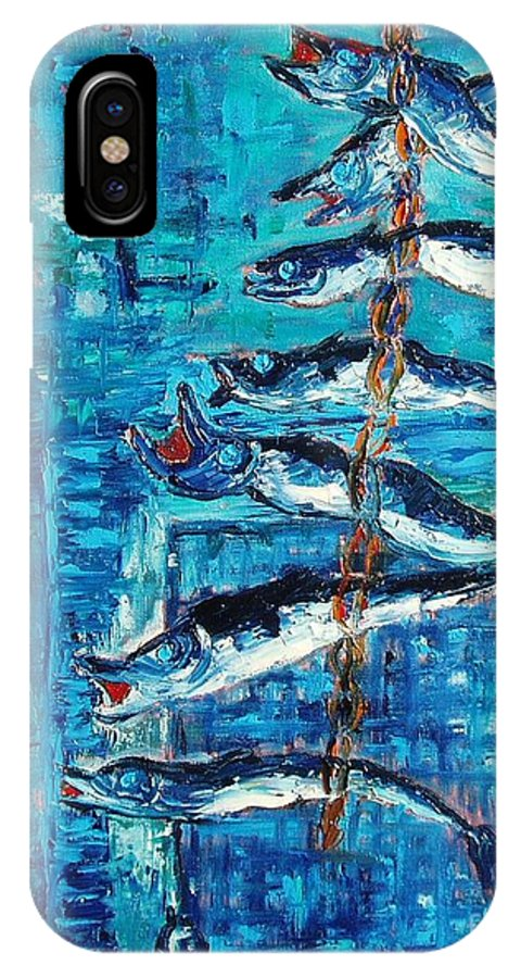 Fish Painting IPhone X Case featuring the painting Caplin by Seon-Jeong Kim