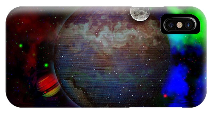 Space IPhone X Case featuring the digital art Caprica Over The Waters by Mario Carini