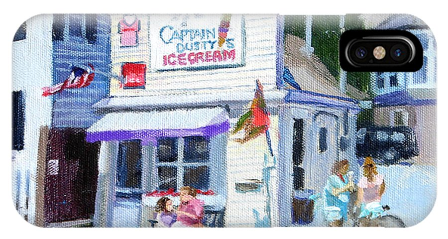 Ice Cream Shop IPhone X / XS Case featuring the painting Capt. Dusty's Ice Cream by Michael McDougall