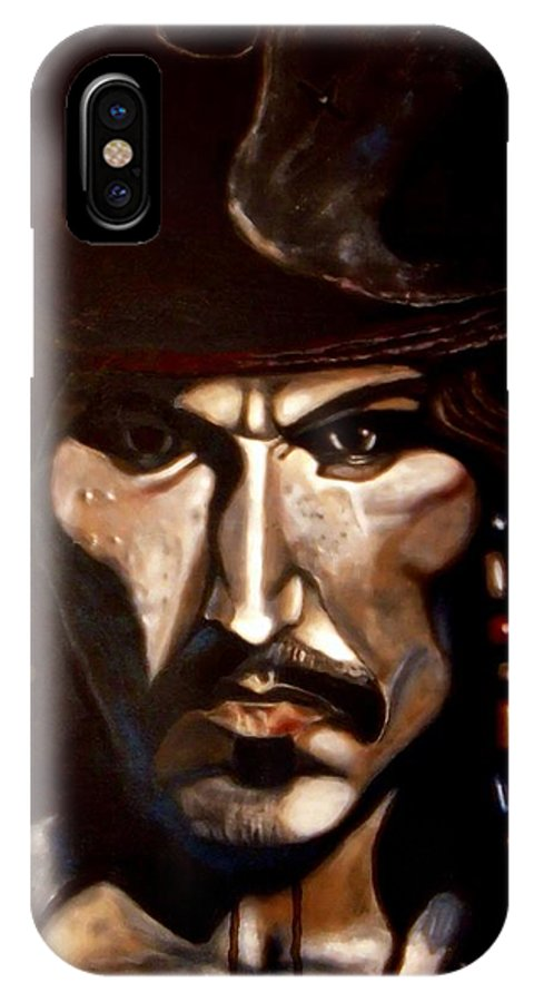 Captain Jack Sparrow IPhone X Case featuring the painting Captain Jack Sparrow by Herbert Renard