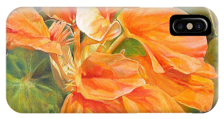 Floral Painting IPhone X Case featuring the painting Capucine by Muriel Dolemieux