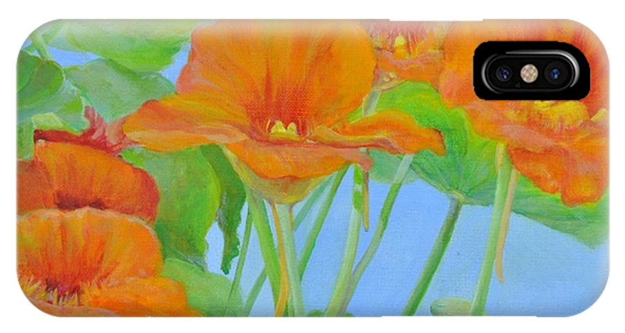 Floral Painting IPhone X Case featuring the painting Capucines by Muriel Dolemieux