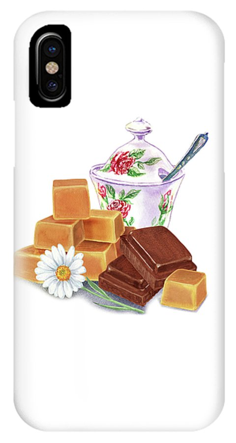 Chocolate And Caramel Two Guilty Pleasures IPhone X Case featuring the painting Caramel Chocolate by Irina Sztukowski