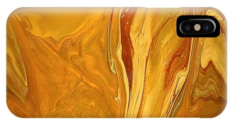 Abstract IPhone X Case featuring the painting Caramel Delight by Patrick Mock