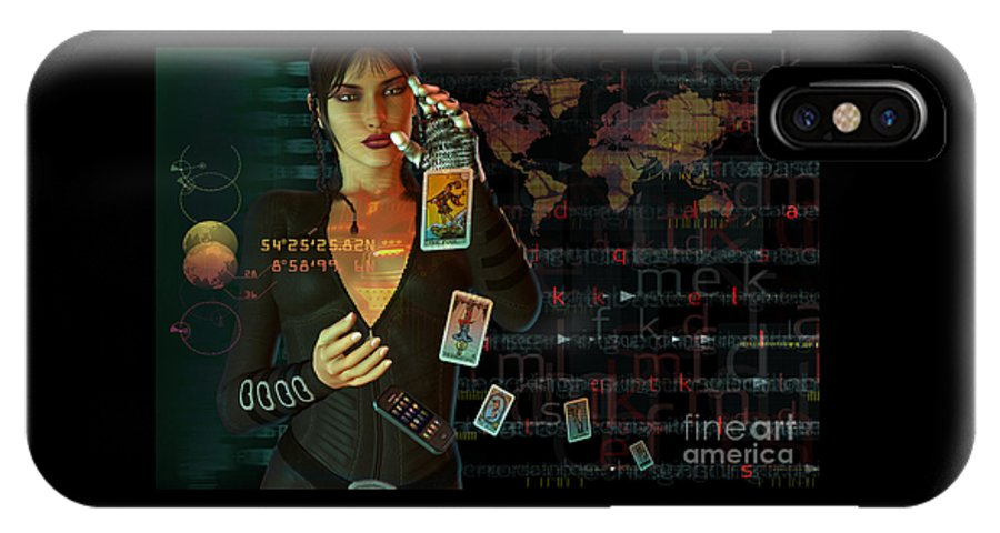 Tarot IPhone X Case featuring the digital art Card Reader by Shadowlea Is