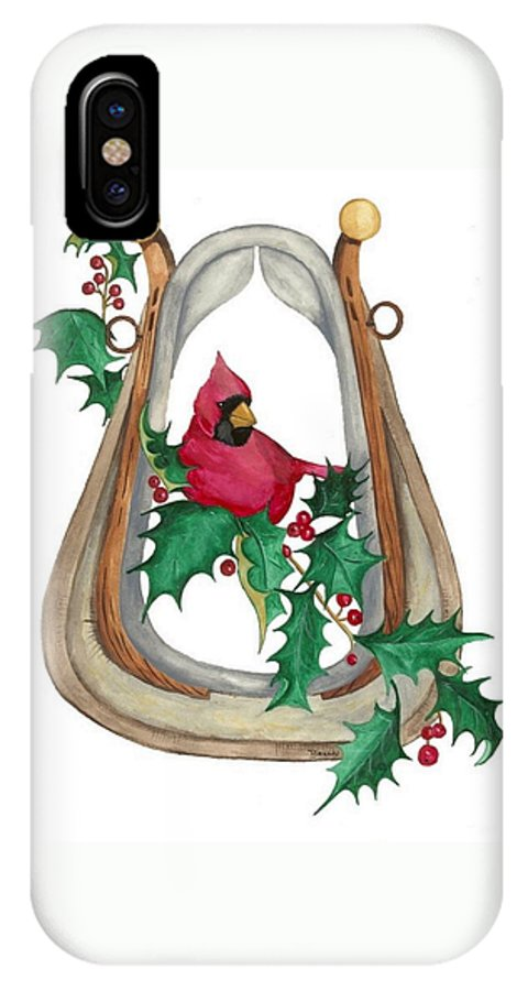 Cardinal IPhone X Case featuring the painting Cardinal by Brandy House