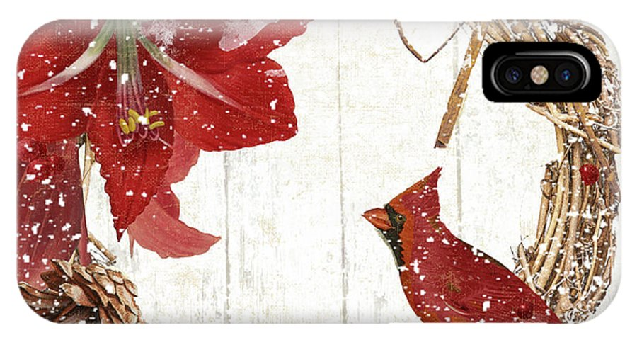 Cardinal IPhone X Case featuring the painting Cardinal Holiday II by Mindy Sommers