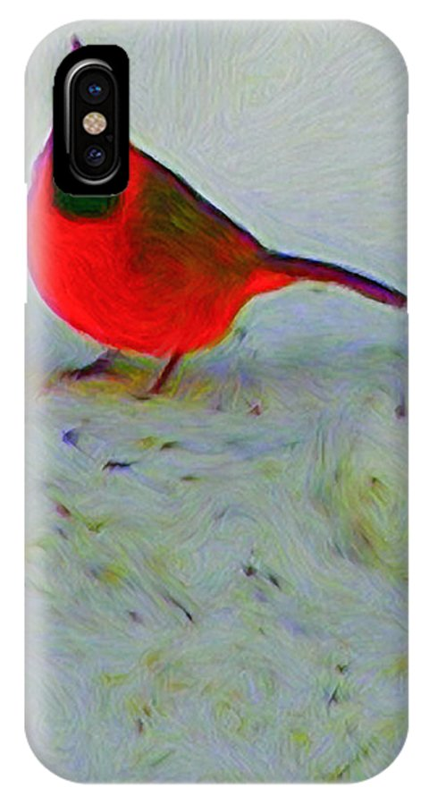 Cardinal IPhone X Case featuring the painting Cardinal In Winter by Kenneth Krolikowski