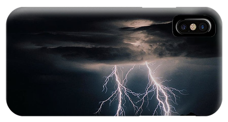 Arizona IPhone X Case featuring the photograph Carefree Lightning by Cathy Franklin