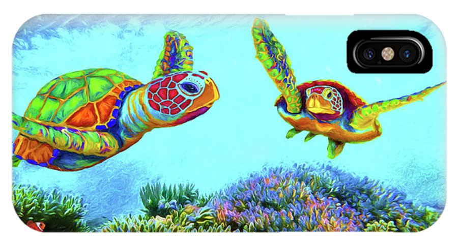 Coral Reef And Fish IPhone X Case featuring the digital art Caribbean Sea Turtle And Reef Fish by Sandra Selle Rodriguez