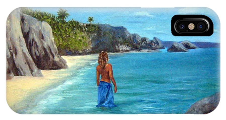 Landscape IPhone X / XS Case featuring the painting Caribean Dreaming by Anne Kushnick