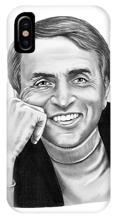 Pencil IPhone X Case featuring the drawing Carl Sagan by Murphy Elliott