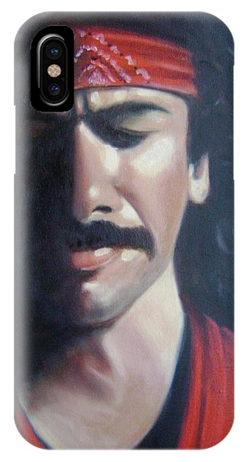 Santana IPhone X Case featuring the painting Carlos Santana by Toni Berry