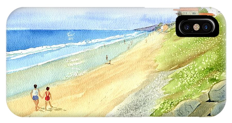 Beach IPhone X Case featuring the painting Carlsbad Beach by Norma Pratt