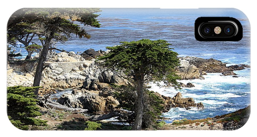 California IPhone X Case featuring the photograph Carmel Seaside With Cypresses by Carol Groenen
