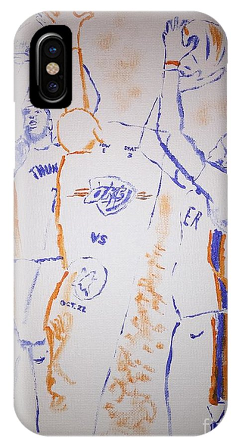 Thunder IPhone X Case featuring the painting Carmelo Anthony by Jack Bunds