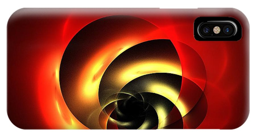 Apophysis IPhone X Case featuring the digital art Carnelian Spiral by Kim Sy Ok