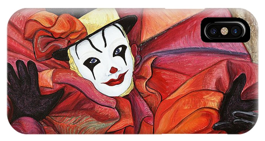 Clown IPhone X Case featuring the painting Carnival Clown by Patty Vicknair