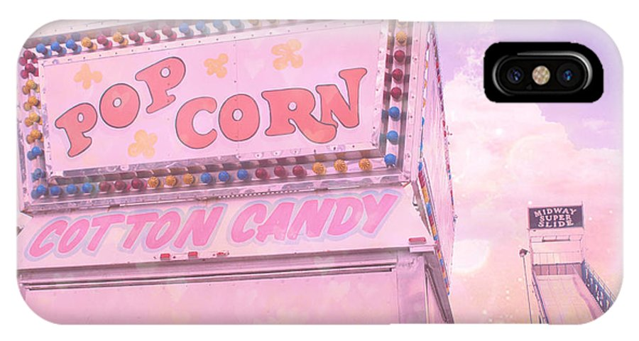 Carnival Art Photography IPhone X / XS Case featuring the photograph Carnival Festival Popcorn Cotton Candy Slide Fun by Kathy Fornal