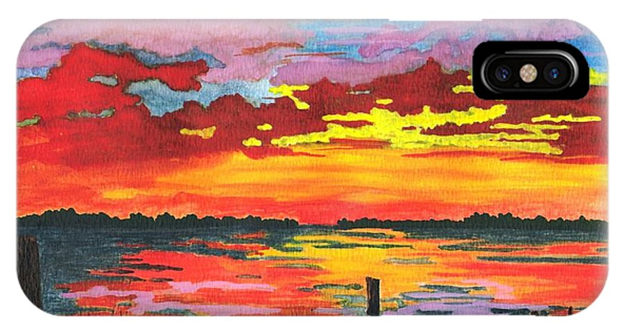 Original Painting IPhone X Case featuring the painting Carolina Sunset by Patricia Griffin Brett
