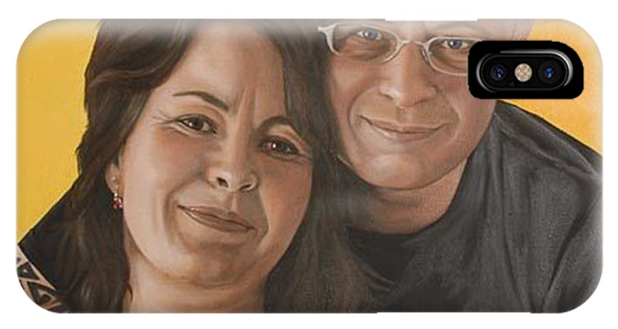 Portrait IPhone X Case featuring the painting Caroline And Rob by Rob De Vries
