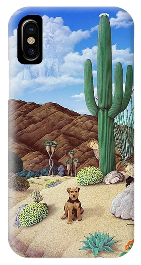 Desert IPhone X Case featuring the painting Carolyn's Boys by Snake Jagger