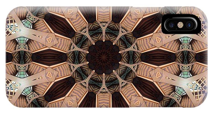 Kaleidoscope IPhone X Case featuring the digital art Carousel Enclosure 2 by Ron Bissett