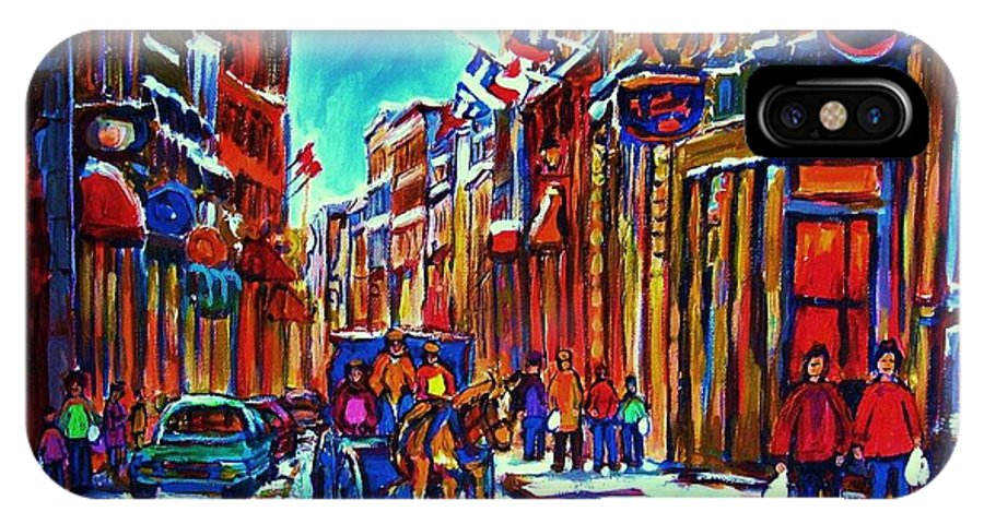 Old Montreal IPhone X Case featuring the painting Carriage Ride Through The Old City by Carole Spandau