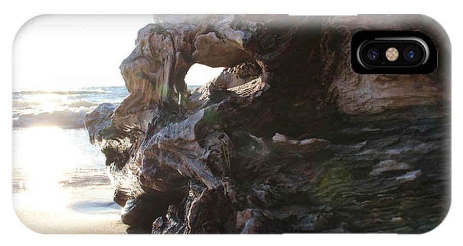 Beach IPhone X Case featuring the photograph Carving Driftwood by Lauren Mohr