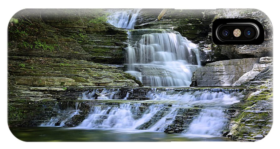 Waterfall IPhone X Case featuring the photograph Cascading Descent by Gary Yost