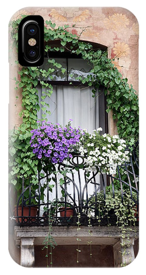 Windows And Doors IPhone X Case featuring the photograph Cascading Floral Balcony by Donna Corless
