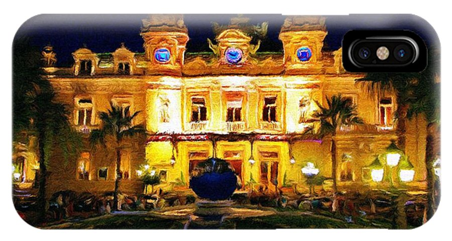 Casino IPhone X Case featuring the painting Casino Monte Carlo by Jeffrey Kolker