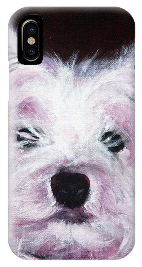 Dog IPhone X Case featuring the painting Cassie by Fiona Jack