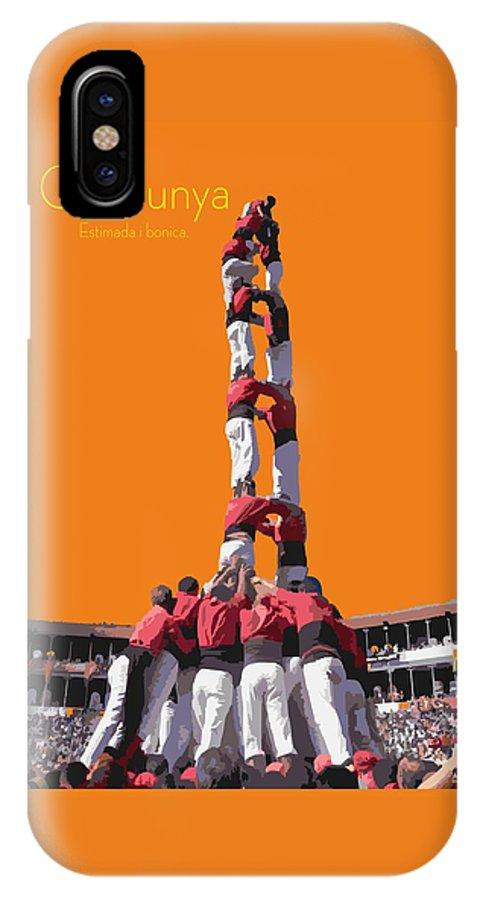 Catalunya IPhone X Case featuring the digital art Castellers De Catalunya by Joaquin Abella