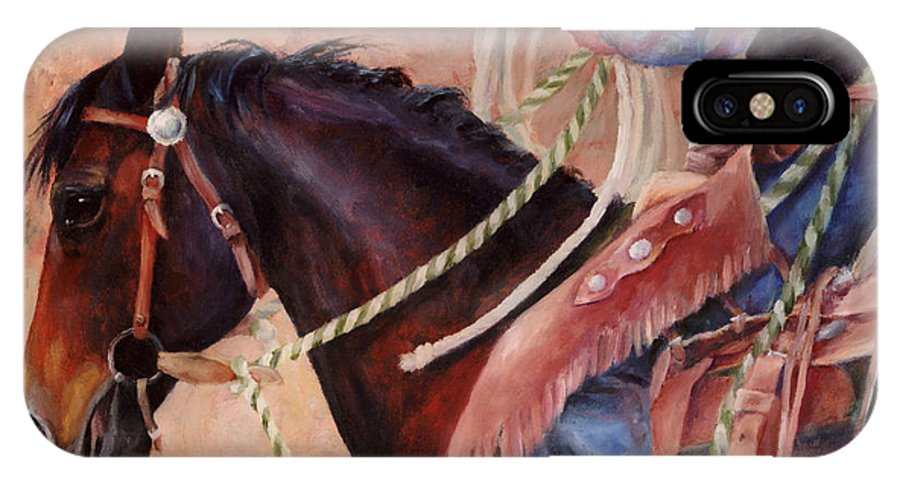 Horse IPhone X Case featuring the painting Castle Rock Buckaroo Western Cowboy Painting by Kim Corpany