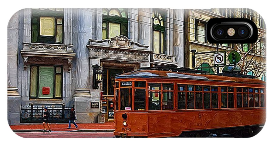 Trolley IPhone X Case featuring the photograph Castro Street Trolley by Tom Reynen