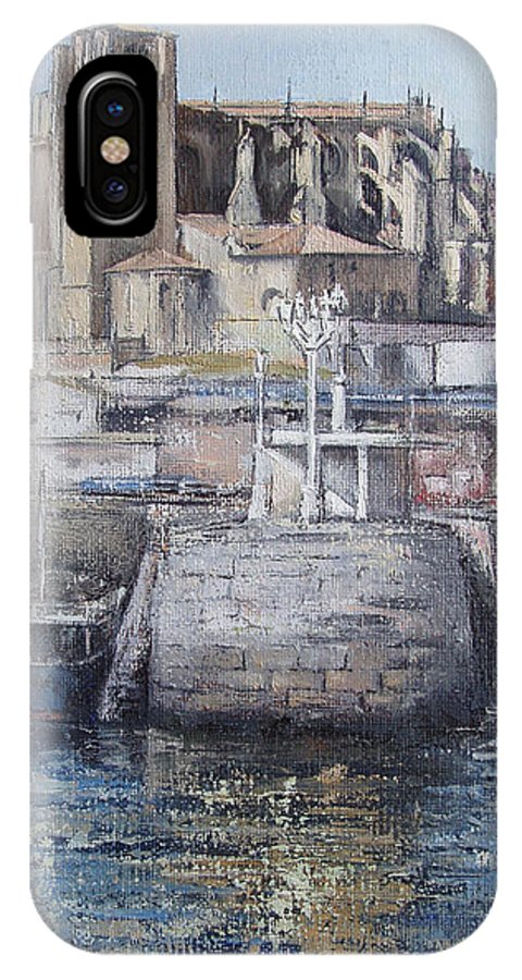 Castro IPhone X Case featuring the painting Castro Urdiales by Tomas Castano