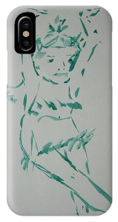 View IPhone X Case featuring the drawing Casual Dance.water Color 1999 by Dr Loifer Vladimir