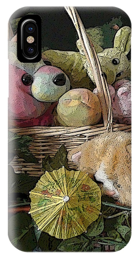 Cat Cats Dog Dogs Puppy Puppies Kitten Kittens Basket Baskets Umbrella Umbrellas Leaf Leaves Still Life IPhone X Case featuring the photograph Cat Alert by Grace Rose