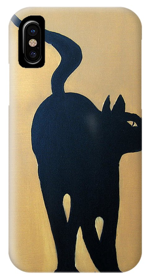 Cat IPhone X Case featuring the painting Cat Dance..... Optical Illusion by Patrick Trotter