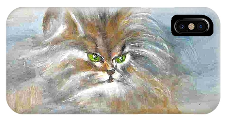 Cat IPhone X Case featuring the painting cat by Dragica Micki Fortuna