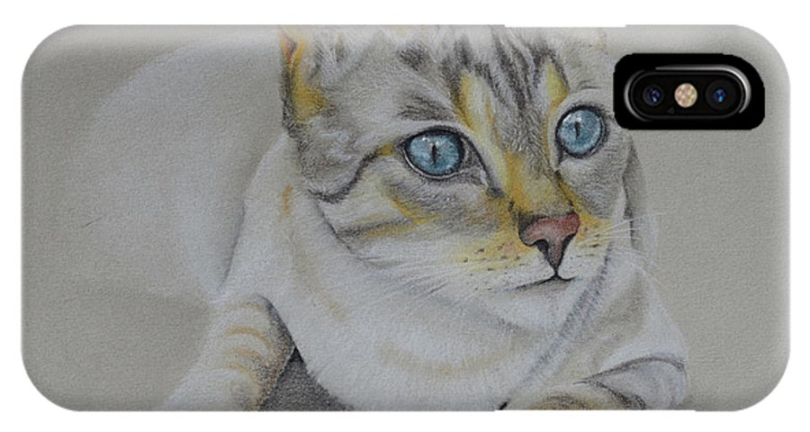 Cat. Cats IPhone X Case featuring the pastel cat drawing - Jackson by Catt Kyriacou