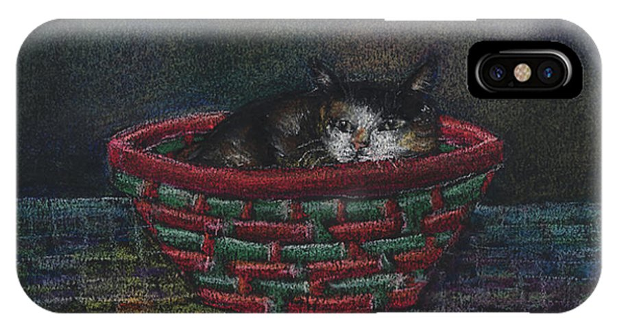 Cat IPhone Case featuring the pastel Cat In A Basket by Arline Wagner