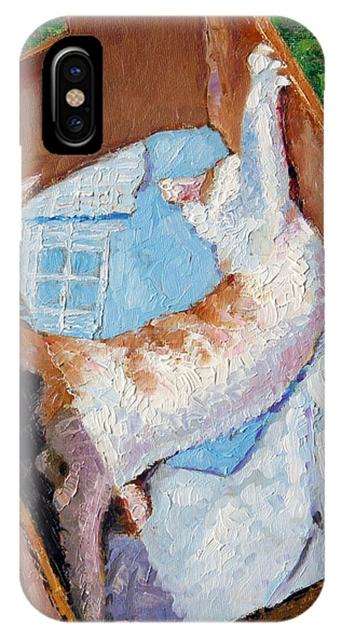 Kitten IPhone X Case featuring the painting Cat In A Box by John Lautermilch