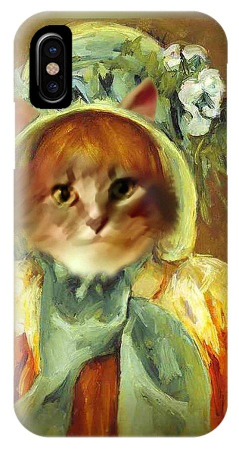 Cassatt IPhone X Case featuring the painting Cat In Bonnet by Gravityx9 Designs