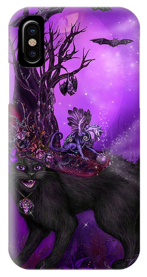 Cat Art IPhone X Case featuring the mixed media Cat In Goth Witch Hat by Carol Cavalaris