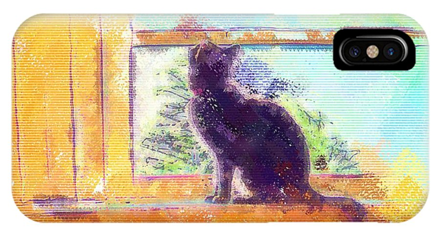 Cat IPhone X Case featuring the digital art Cat Looking Out The Window by Nora Martinez