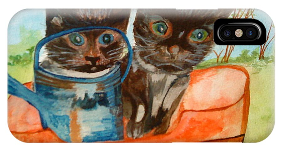Cats IPhone X Case featuring the painting Cat Mischief by Paula Maybery